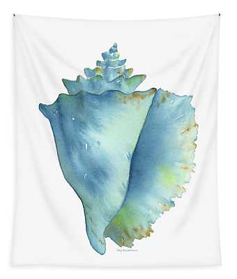 Blue Conch Shell Tapestry