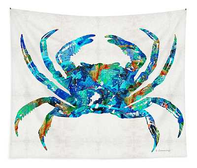 Blue Crab Art By Sharon Cummings Tapestry