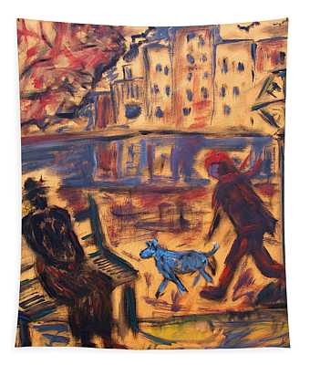 Blue Dog In The City Tapestry