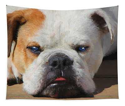 Blue-eyed English Bulldog - Painting Tapestry
