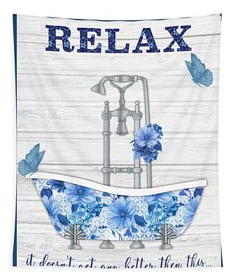Blue Foral Bath Art A Tapestry