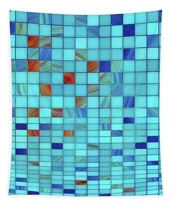 Blue Geometrical Art - Block Party 1 - Sharon Cummings Tapestry
