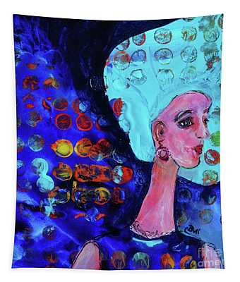 Blue Haired Girl On Windy Day Tapestry
