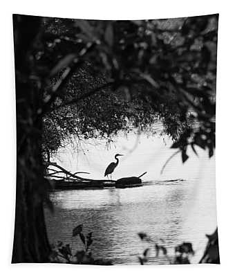 Blue Heron In Black And White. Tapestry