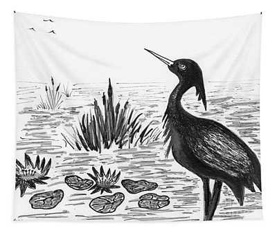 Crowned Night Heron Lily Pond Paradise In Ink D1 Tapestry