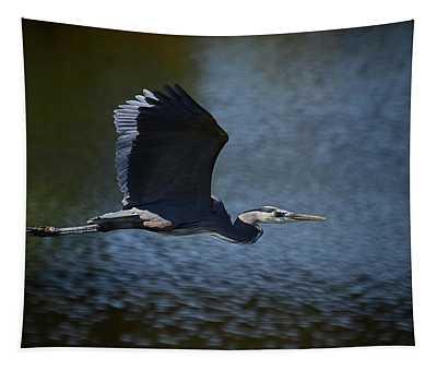 Blue Heron Skies  Tapestry