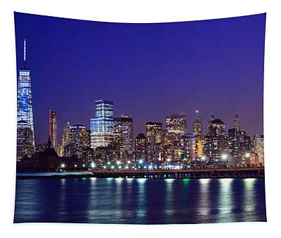 Blue Hour Panorama New York World Trade Center With Freedom Tower From Liberty State Park Tapestry