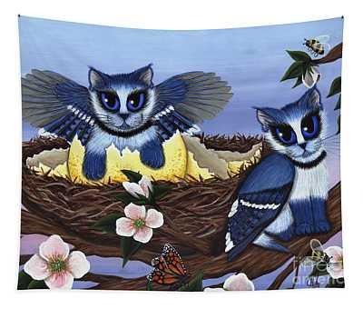 Blue Jay Kittens Tapestry