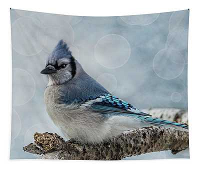 Blue Jay Perch Tapestry