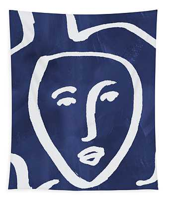 Blue Lady- Art By Linda Woods Tapestry