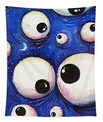 Blue Monster Eyes Tapestry