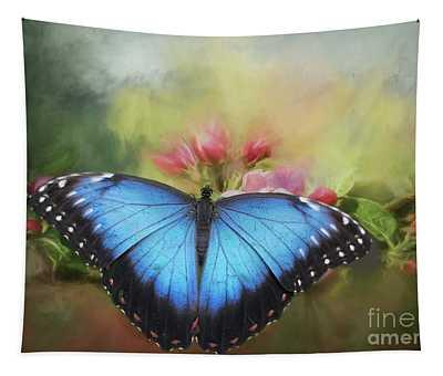 Blue Morpho On A Blossom Tapestry