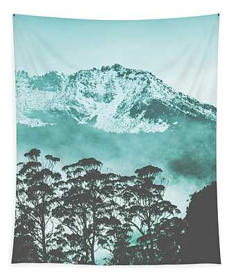 Blue Mountain Winter Landscape Tapestry