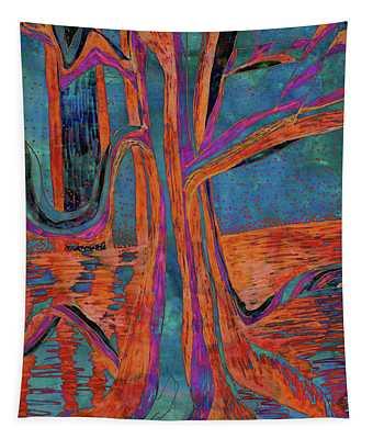 Blue-orange Warm Dusk River Tree Tapestry