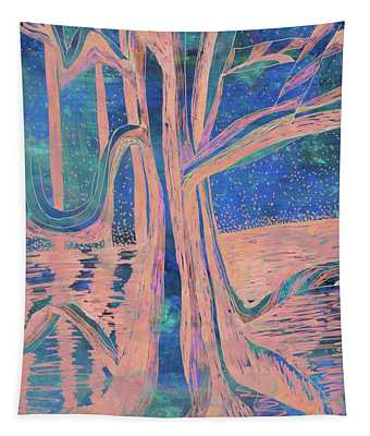 Blue-peach Dawn River Tree Tapestry