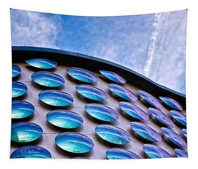Blue Polka-dot Wave Tapestry