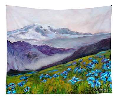Blue Poppy Field Tapestry