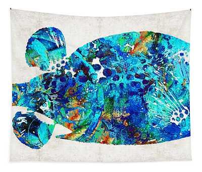 Blue Puffer Fish Art By Sharon Cummings Tapestry
