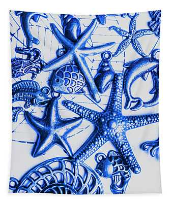 Blue Reef Abstract Tapestry