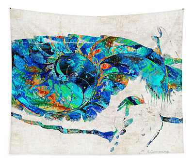 Blue Sea Turtle By Sharon Cummings  Tapestry