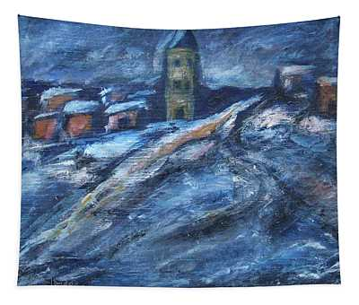 Blue Snow City Tapestry