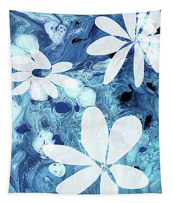 Blue Water Flowers- Art By Linda Woods Tapestry