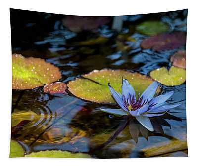 Blue Water Lily Pond Tapestry