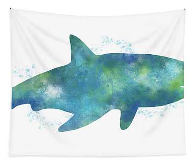 Blue Watercolor Shark- Art By Linda Woods Tapestry