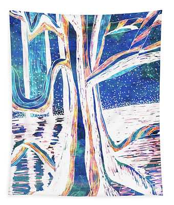 Blue-white Full Moon River Tree Tapestry