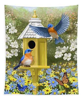 Bluebird Garden Home Tapestry