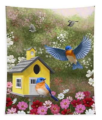 Bluebirds And Yellow Birdhouse Tapestry