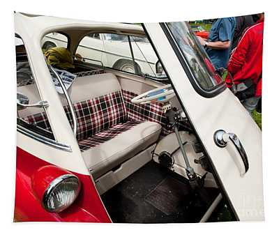 Bmw Isetta Red Classic Car Tapestry