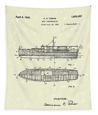 Boat 1932 Patent Art Tapestry