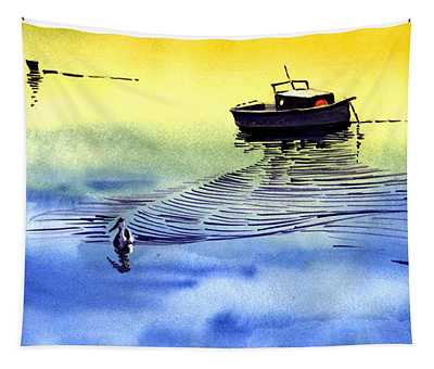 Boat And The Seagull Tapestry