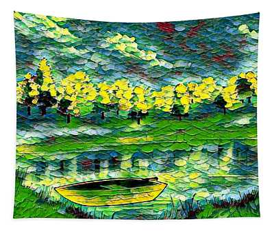Boat On Lake Tapestry