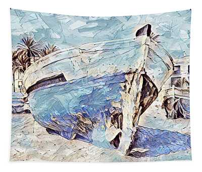 Boat On Sand Of A Beach Shore Tapestry
