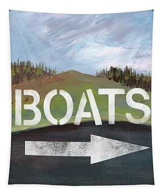 Boats- Art By Linda Woods Tapestry