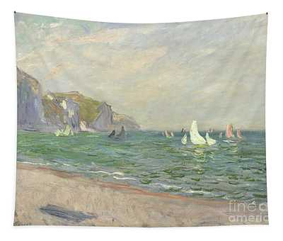 Boats Below The Cliffs At Pourville Tapestry