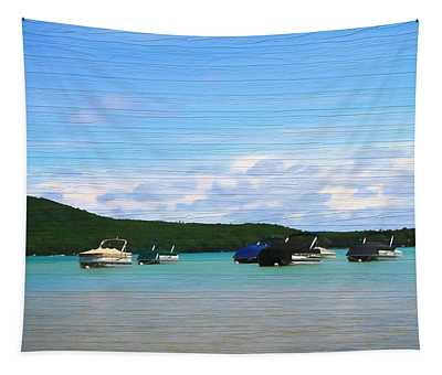 Boats In Sleeping Bear Bay Wood Texture Tapestry