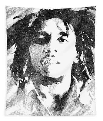 Bob Marley Bw Portrait Tapestry