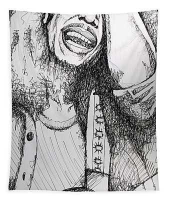 Bob Marley In Ink Tapestry