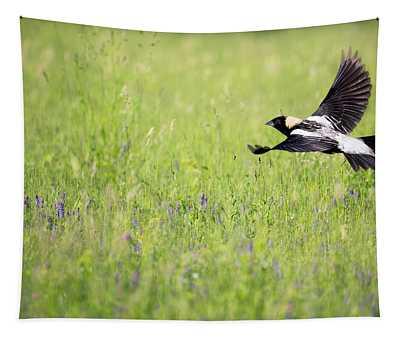 Bobolink In Flight Tapestry