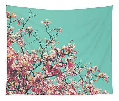 Boho Cherry Blossom 1- Art By Linda Woods Tapestry