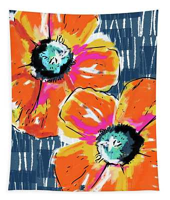 Bold Orange Poppies- Art By Linda Woods Tapestry