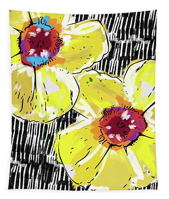 Bold Yellow Poppies- Art By Linda Woods Tapestry