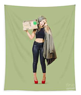 Bombshell Blond Pinup Woman In Dangerous Style Tapestry