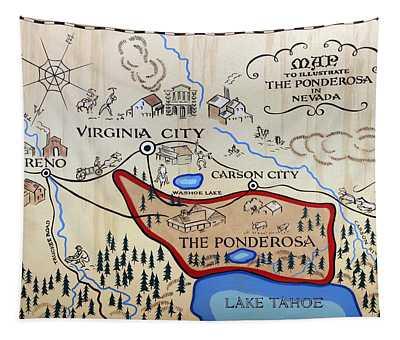 Bonanza Series Ponderosa Map  1959 Tapestry