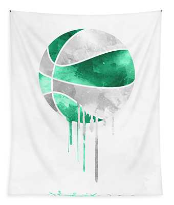 Boston Celtics Dripping Water Colors Pixel Art Tapestry