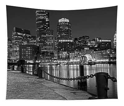 Boston Waterfront Boston Skyline Black And White Tapestry