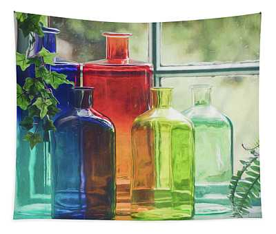 Bottles In The Window Tapestry